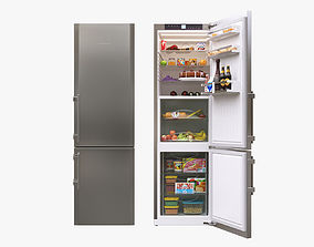 3D model Liebherr Single Fridge CBS 1360 Opened with food