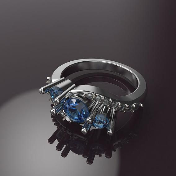 3 Stones Engagement Ring