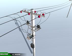 Lowpoly Modular Power line Set 3D model realtime