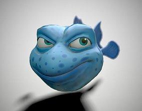 Blue cartoon fish 3D asset