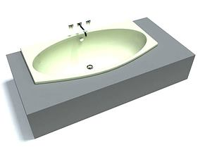 Modern White Ceramic On Grey Sink 3D
