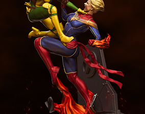 3D printable model Captain Marvel VS Rogue Fan Art