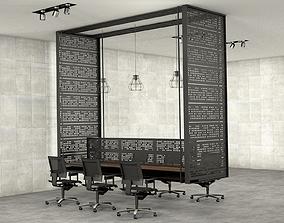 3D model Hanged Workstation open space office desk
