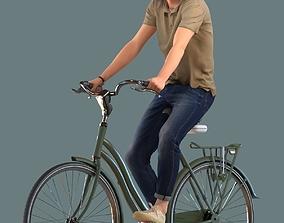 Low poly set of 3D men on a bike 3D model