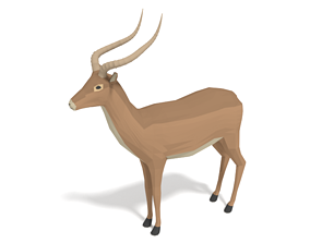 Low Poly Cartoon Impala Antelope 3D model