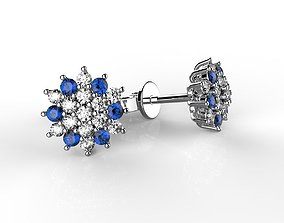 Earrings with round colour stones 3D print model