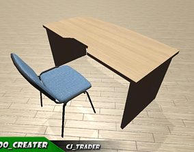 low-poly Office reception furniture set low poly 3d model