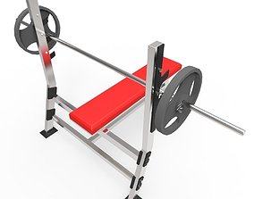 Weight Bench 3D model game-ready