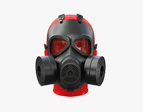 3D model low-poly Military Gas Mask