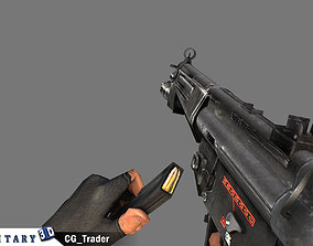 Animated Arm with MP5 Gun Lowpoly 3D Model animated