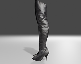 3D model Leather female boots - woman shoes