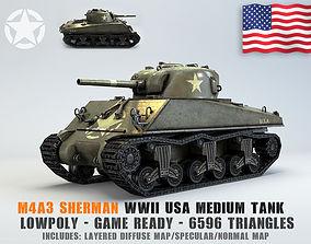 Low Poly M4A3 Sherman Medium Tank 3D asset VR / AR ready