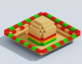 3D model game-ready Voxel Mexican Holiday Hat