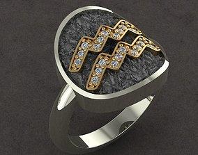 AQUARIUS Ring for woman 3D print model