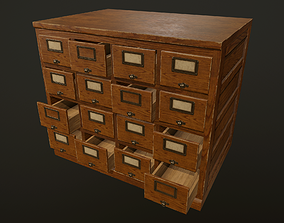 Card File Cabinet - PBR Game Ready 3D asset catalog