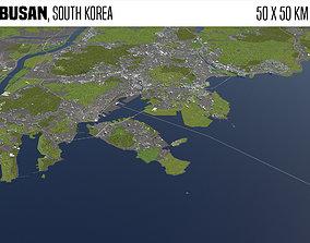 Busan South Korea 50x50km 3D