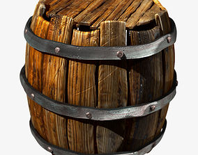 3D Old Wooden Barrel