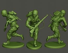 American soldier ww2 running A5 3D print model