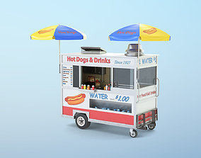 3D model low-poly Food Cart