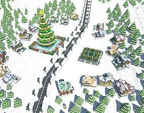 Full Pack Christmas House Voxel 3D model game-ready