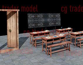 3D asset low-poly wooden desk