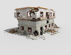 low poly destroyed building 6 3D model