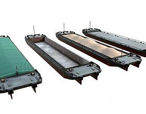 set of barges 85x16 Black Grey 3D asset