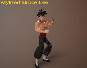 3D model animated Bruce Lee stylized