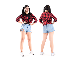 Pretty girl in jeans shorts 20 3D asset