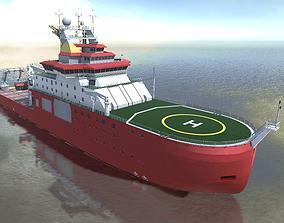 game-ready Antarctic research vessel Icebreaker 3d model