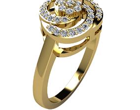 Fancy Diamond Ring 3d Model Print sterling earring