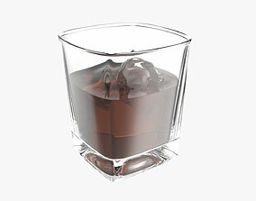 Whiskey glass with ice cube 3D model
