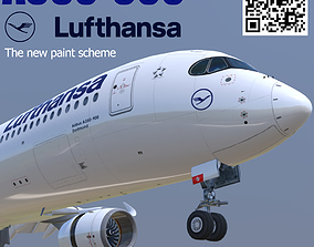 3D model Airbus A350-900 Lufthansa new color livery