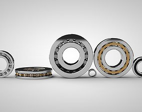 3D A set of models of six ball and roller bearings