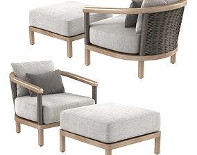 3D Restoration Hardware Isla Lounge chair and ottoman