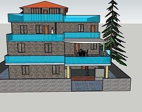 VR / AR ready residential building 3d elevation