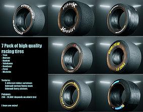 3D asset realtime Racing Slick Tires - 7 pack