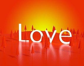 3D asset Love trees sunrise