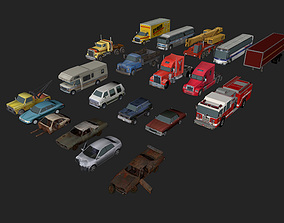 Mega Low poly game-ready Vehicle Pack 3D model low-poly