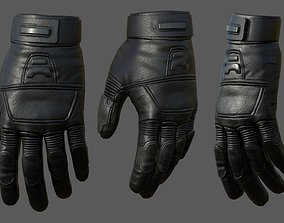 Gloves protection lather military combat 3D model 2