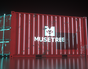 Shipping Container 16foot Rigged 3D asset