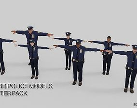 rigged Realistic Cops - Rigged Police 3D Character Pack 1