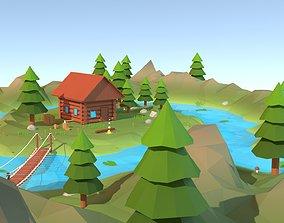 Cartoon low poly wilderness scene 3D asset