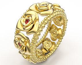 ring rose 3D print model pendant