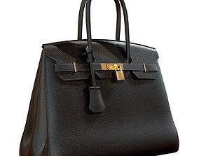 Hermes Birkin Bag Black Leather 3D model