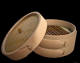 3D asset lowpoly Bamboo steamer