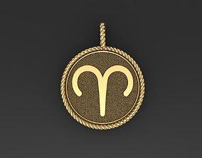 Aries Zodiac Sign Pendant 3D printable model