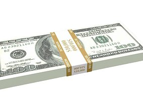 Stack of Hundred-Dollar Bills 3D model