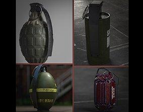 Frag hand grenades PACK 3D asset