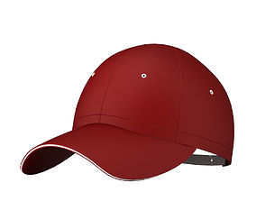 3D Red Baseball Cap 2